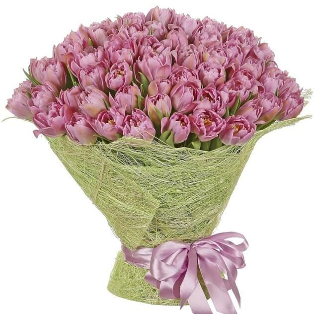 101 яркий сиреневый тюльпан