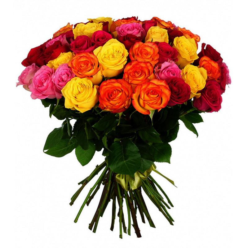 Букет из 35 разноцветных роз